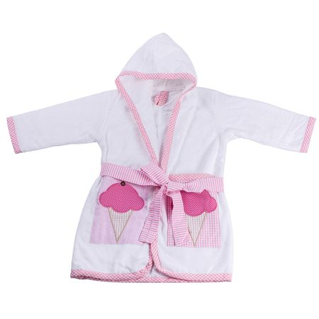 Roupao-Infantil-com-Capuz-Aveludado-Sorvete-Rosa-Flicka-Kids