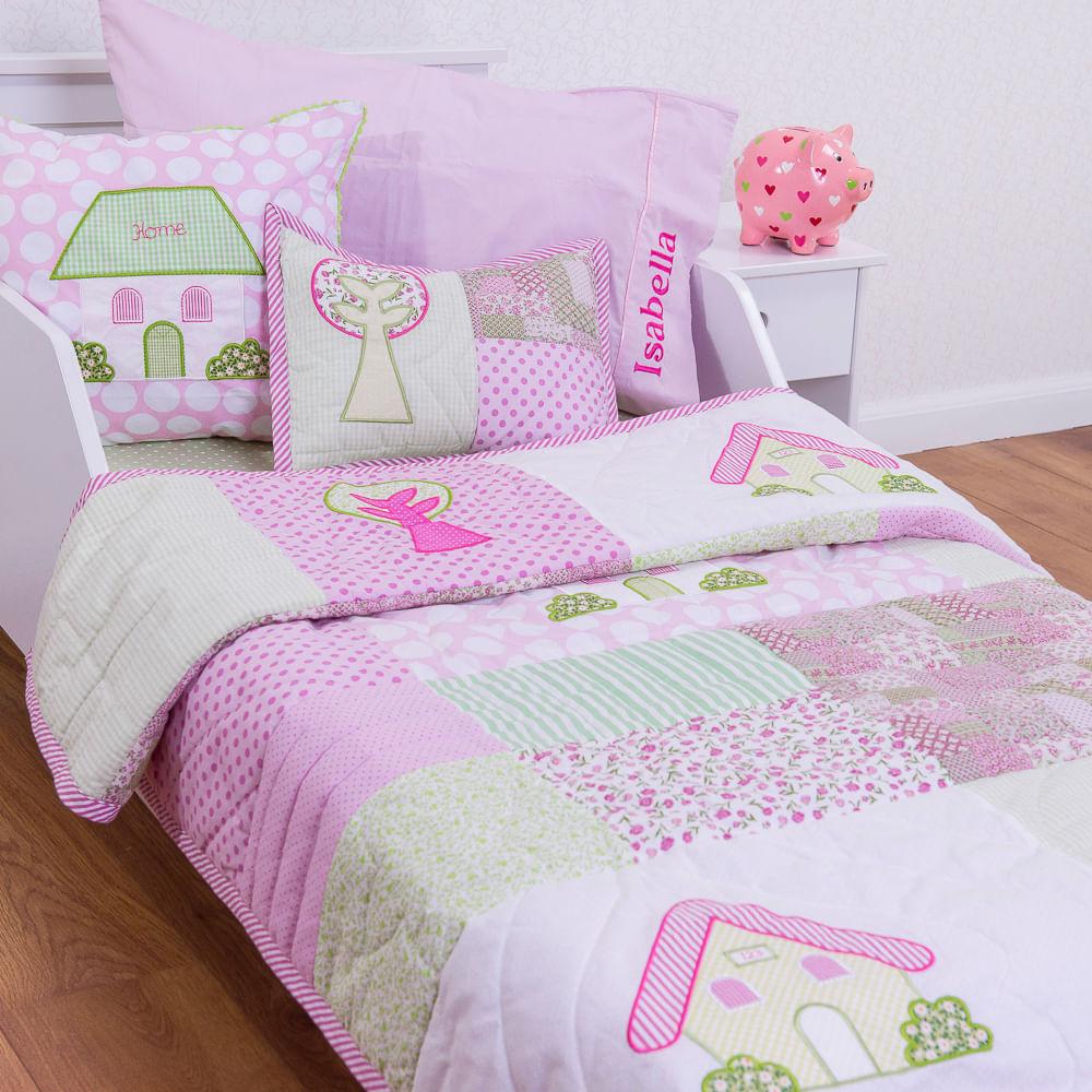 a2451a42ab Flicka Kids · Enxoval e Pijamas · Edredom.  262-COLCHA-ROSA-COM-BOLINHAS-ROSAS-CASINHA-E ...
