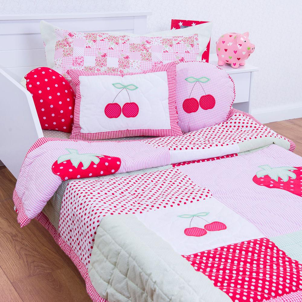 b9da999ac5 Flicka Kids · Enxoval e Pijamas · Edredom.  261-COLCHA-MORANGO-E-CEREJA-COM-ALMOFADAS ...
