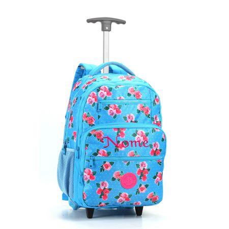 Mochila-Escolar-com-Rodas-Floral-Turquesa-e-Rosa-Seanite
