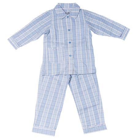 Pijama-Flanela-Gingham-Azul-Flicka-Kids