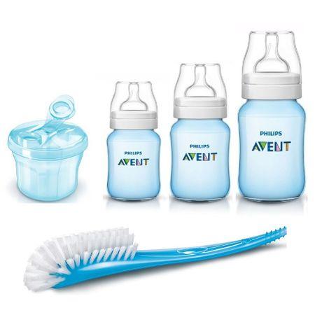 Kit-de-Mamadeiras-Avent-Classic-Azul-com-dosador-e-escova