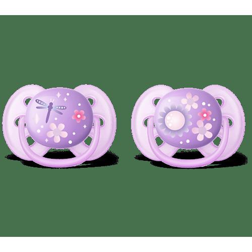 Chupeta-Avent-Ultra-Soft-dupla-S2-6-18-meses---lilas-decorada---Certificado-OCP003-IFBQ-Seguranca