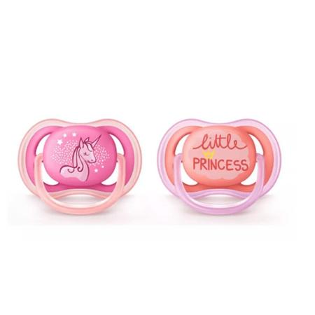 Chupeta-Avent-Ultra-air-Dupla-decorada-S2-de-6-18-meses-Little-princess-e-unicornio--Certificado-OCP003-IFBQ-Seguranca