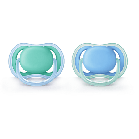 Chupeta-Avent-Ultra-Air-Dupla-S2-de-6-18-meses-lisa---azul-e-verde---Certificado-OCP-0006-CE-PUR-IQP-Seguranca